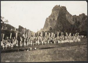 Pageant celebrating the 75th anniversary of the 1848 Seneca Falls Convention, Garden of the Gods, Colorado Springs, Colorado